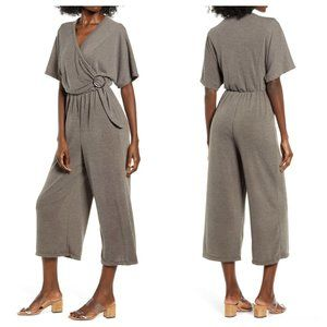 All in Favor Wrap Front Wide Leg Crop Jumpsuit NWT